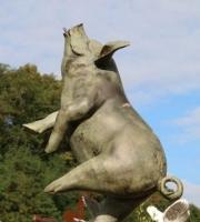Schwein-Bronze-Bronzeschwein-Springbrunnen-Gartenbrunnen-ULRICH-GARTEN-Schwäbisch-Gmünd