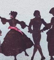 """Scherenschnitt """"Ein Tänzchen zu Ehren"""" - Rostfiguren"""