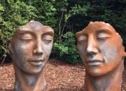 Mann & Frau Paar Gesicht Rostfigur, Steinguss